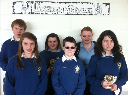 (L-R) William Phair (3rd - winner), Michaela Keenaghan (1st - winner), Deirdre Carroll (2nd -runner-up), Karl Shepard (1st - runner-up), Saidhbh McIntyre (3rd - runner-up,) Eimear Regan (2nd -winner).